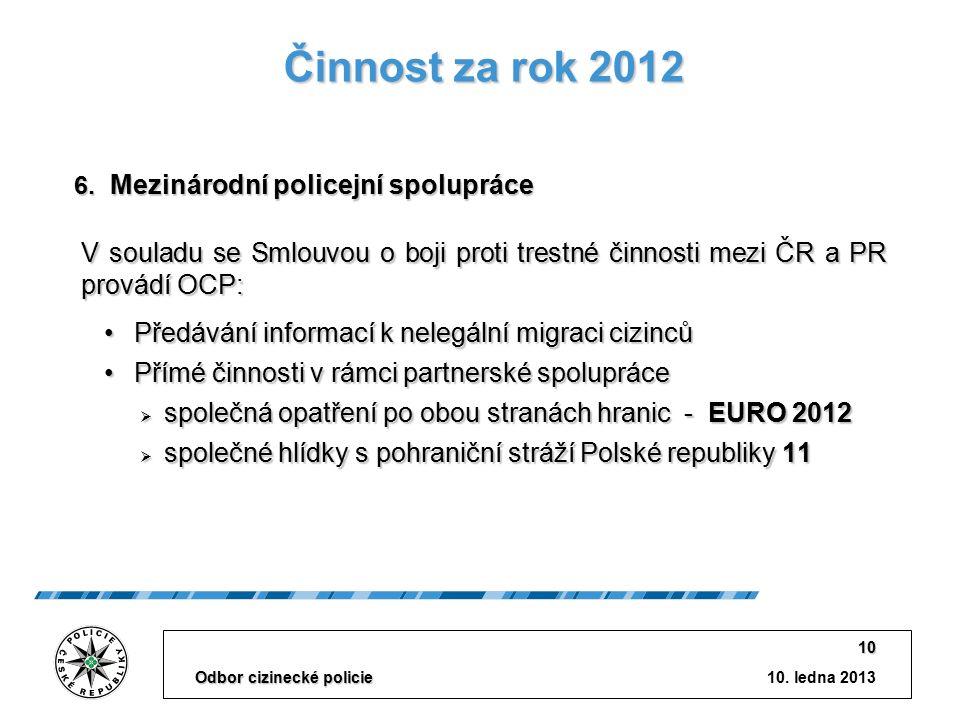 10. ledna 2013 Odbor cizinecké policie 10 Činnost za rok 2012 V souladu se Smlouvou o boji proti trestné činnosti mezi ČR a PR provádí OCP: Předávání