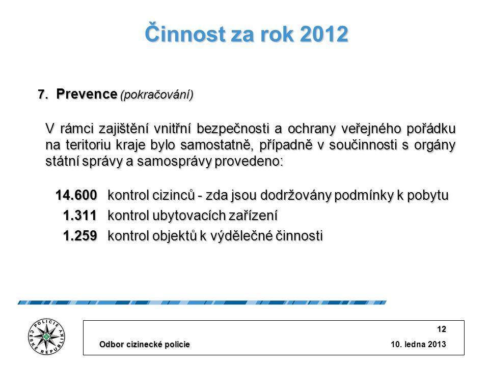 10. ledna 2013 Odbor cizinecké policie 12 Činnost za rok 2012 V rámci zajištění vnitřní bezpečnosti a ochrany veřejného pořádku na teritoriu kraje byl