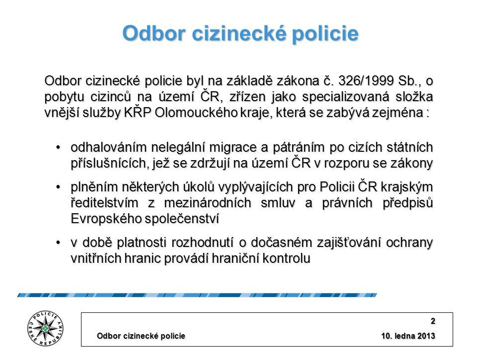 """Plnění priorit v roce 2012 ELIMINACE NELEGÁLNÍ MIGRACE MEZINÁRODNÍ SPOLUPRÁCE  Podíl na opatřeních k EURO 2012  Společné hlídky s PSG SPOLUPRÁCE S ORGÁNY VEŘEJNÉ SPRÁVY  Odbor azylové a migrační politiky MV ČR  Odhalování nelegální práce a zaměstnávání cizinců (OIP, CÚ)  Podíl na akci """"Čistka v rámci kraje – posouzení dokladů k dovezeným vozidlům ze zahraničí Odbor cizinecké policie 13 10."""
