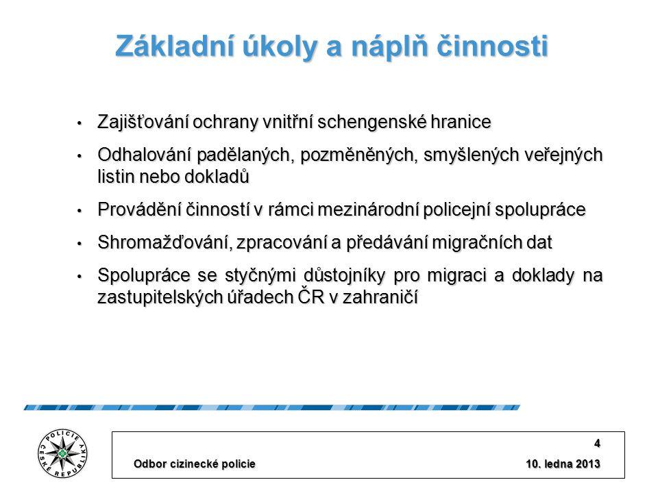 10. ledna 2013 Odbor cizinecké policie 4 Základní úkoly a náplň činnosti Zajišťování ochrany vnitřní schengenské hranice Zajišťování ochrany vnitřní s
