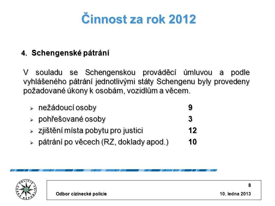10. ledna 2013 Odbor cizinecké policie 8 Činnost za rok 2012 V souladu se Schengenskou prováděcí úmluvou a podle vyhlášeného pátrání jednotlivými stát