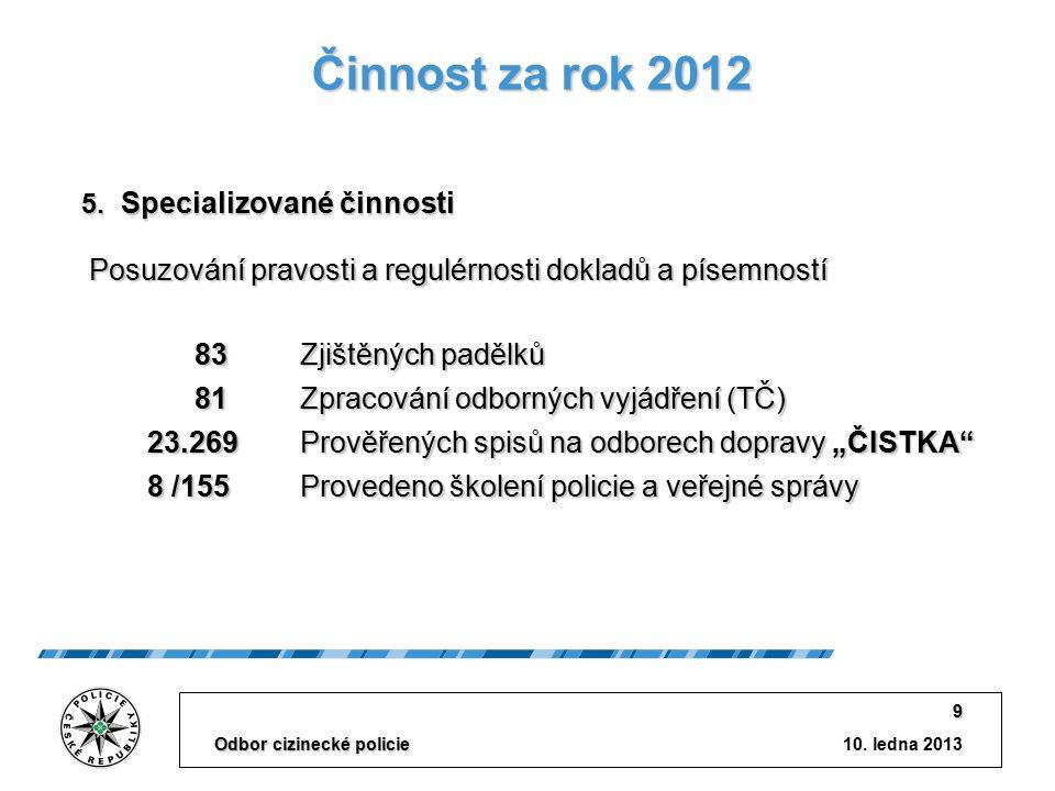10. ledna 2013 Odbor cizinecké policie 9 Činnost za rok 2012 5.