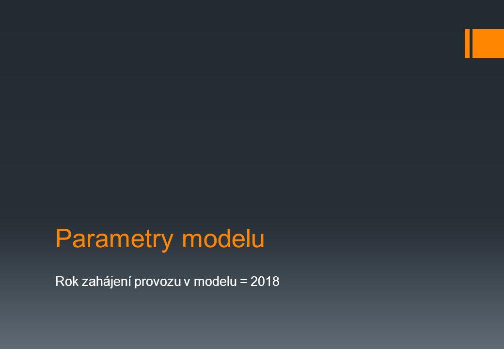 Parametry modelu Rok zahájení provozu v modelu = 2018