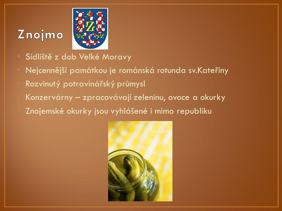Sídliště z dob Velké Moravy Nejcennější památkou je románská rotunda sv.Kateřiny Rozvinutý potravinářský průmysl Konzervárny – zpracovávají zeleninu, ovoce a okurky Znojemské okurky jsou vyhlášené i mimo republiku