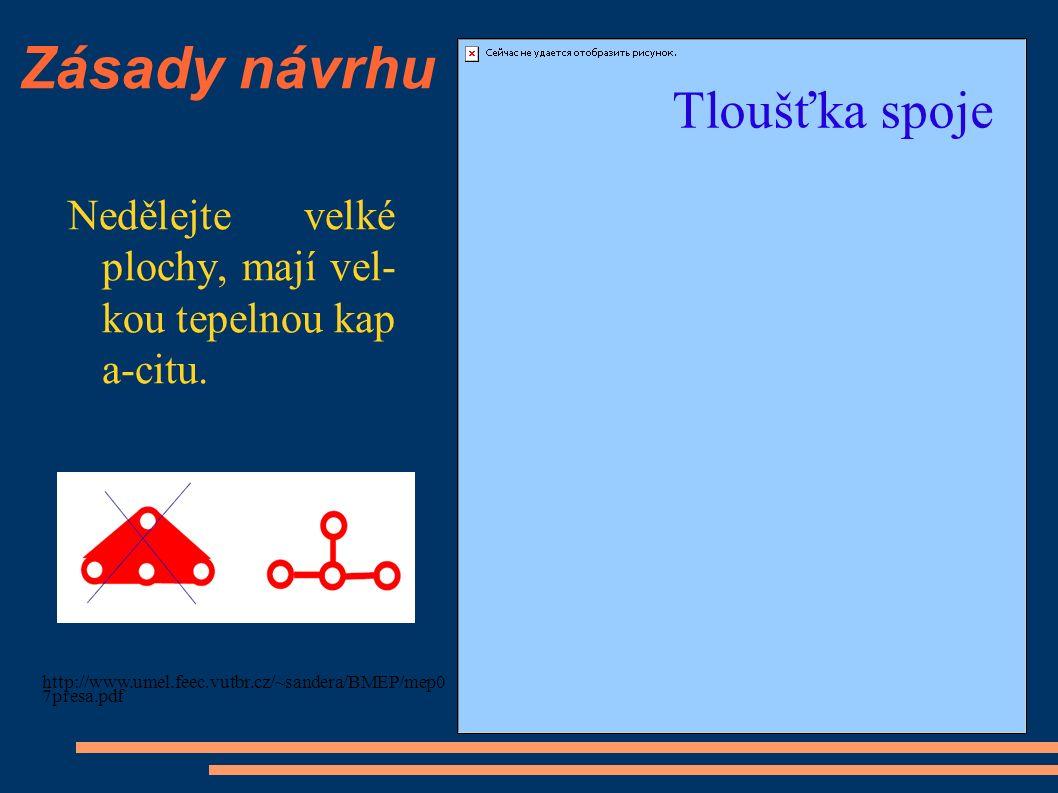 Zásady návrhu Nedělejte velké plochy, mají vel- kou tepelnou kap a-citu. http://www.umel.feec.vutbr.cz/~sandera/BMEP/mep0 7presa.pdf Tloušťka spoje