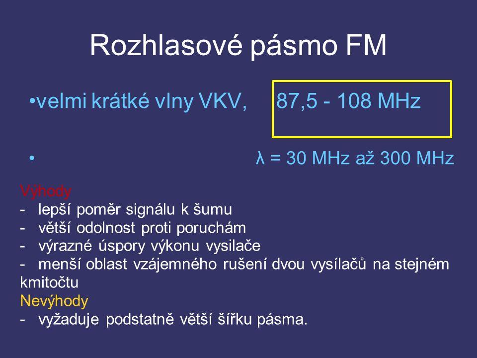 Rozhlasové pásmo FM velmi krátké vlny VKV, 87,5 - 108 MHz λ = 30 MHz až 300 MHz Výhody - lepší poměr signálu k šumu - větší odolnost proti poruchám - výrazné úspory výkonu vysilače - menší oblast vzájemného rušení dvou vysílačů na stejném kmitočtu Nevýhody - vyžaduje podstatně větší šířku pásma.