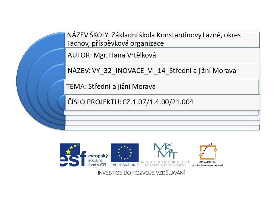 Anotace: Prezentace učiva: střední a jižní Morava Žáci si zopakují znalosti měst, řek, povrchu a průmyslu dané oblasti.