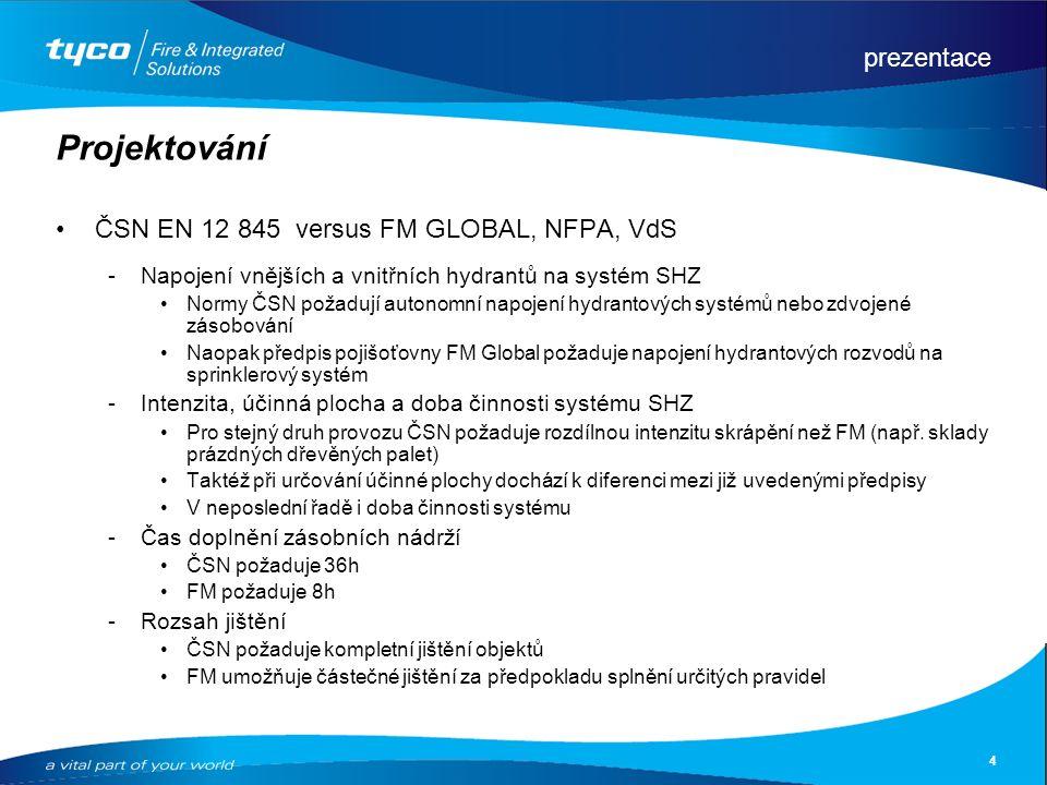prezentace 4 Projektování ČSN EN 12 845 versus FM GLOBAL, NFPA, VdS Napojení vnějších a vnitřních hydrantů na systém SHZ Normy ČSN požadují autonomní