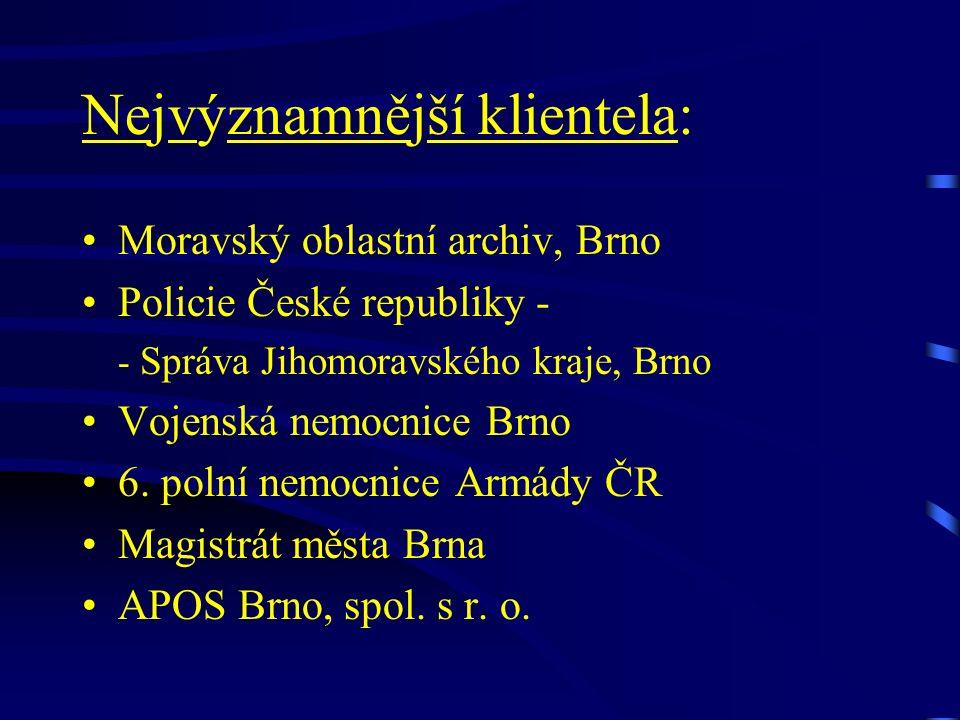 Nejvýznamnější klientela: Moravský oblastní archiv, Brno Policie České republiky - - Správa Jihomoravského kraje, Brno Vojenská nemocnice Brno 6.
