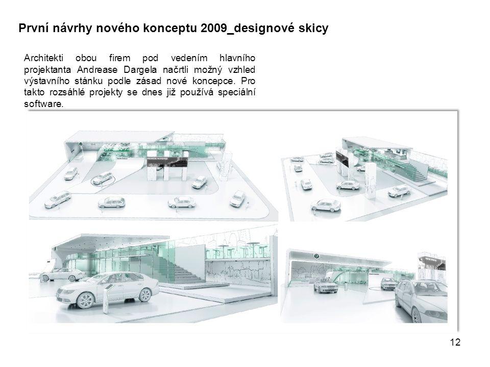 První návrhy nového konceptu 2009_designové skicy Architekti obou firem pod vedením hlavního projektanta Andrease Dargela načrtli možný vzhled výstavního stánku podle zásad nové koncepce.
