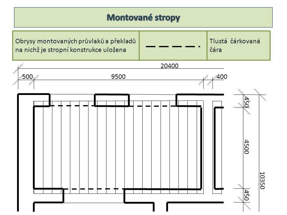 20400 9500400500 450 4500 450 10350 Obrysy montovaných průvlaků a překladů na nichž je stropní konstrukce uložena Tlustá čárkovaná čára