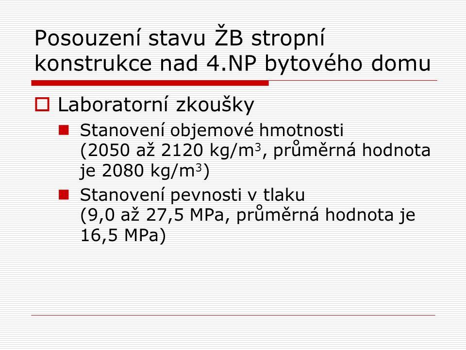 Posouzení stavu ŽB stropní konstrukce nad 4.NP bytového domu  Laboratorní zkoušky Stanovení objemové hmotnosti (2050 až 2120 kg/m 3, průměrná hodnota je 2080 kg/m 3 ) Stanovení pevnosti v tlaku (9,0 až 27,5 MPa, průměrná hodnota je 16,5 MPa)