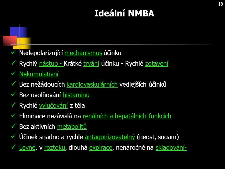 18 Ideální NMBA Nedepolarizující mechanismus účinku Rychlý nástup - Krátké trvání účinku - Rychlé zotavení Nekumulativní Bez nežádoucích kardiovaskulárních vedlejších účinků Bez uvolňování histaminu Rychlé vylučování z těla Eliminace nezávislá na renálních a hepatálních funkcích Bez aktivních metabolitů Účinek snadno a rychle antagonizovatelný (neost, sugam) Levné, v roztoku, dlouhá expirace, nenáročné na skladování-