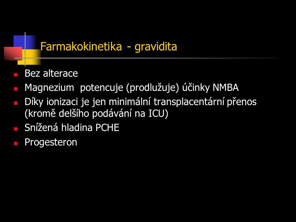 Farmakokinetika - gravidita Bez alterace Magnezium potencuje (prodlužuje) účinky NMBA Díky ionizaci je jen minimální transplacentární přenos (kromě delšího podávání na ICU) Snížená hladina PCHE Progesteron