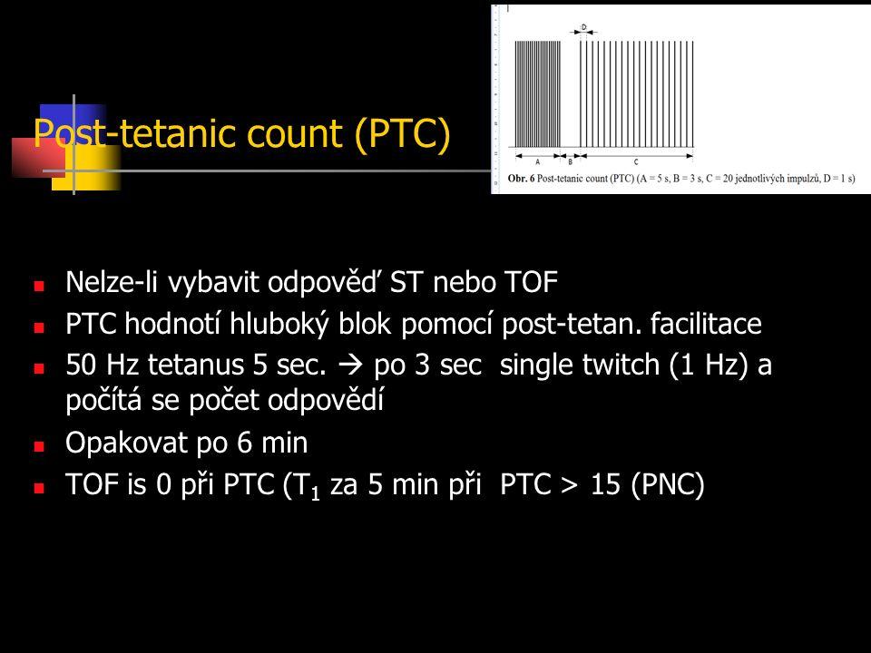 Post-tetanic count (PTC) Nelze-li vybavit odpověď ST nebo TOF PTC hodnotí hluboký blok pomocí post-tetan.