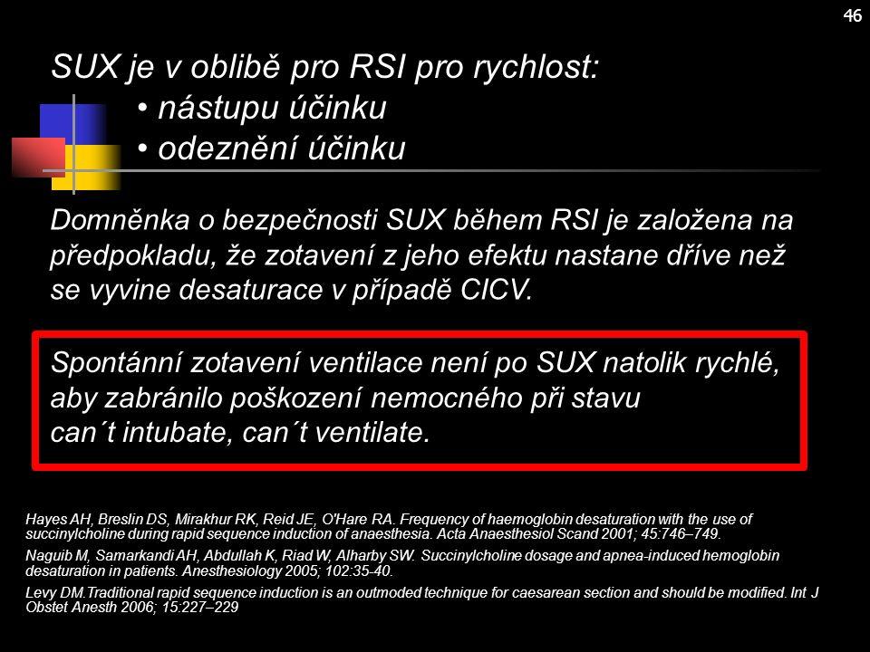 46 SUX je v oblibě pro RSI pro rychlost: nástupu účinku odeznění účinku Domněnka o bezpečnosti SUX během RSI je založena na předpokladu, že zotavení z jeho efektu nastane dříve než se vyvine desaturace v případě CICV.