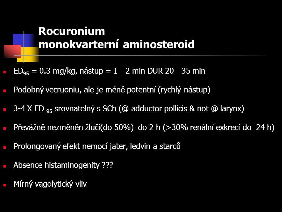 Rocuronium monokvarterní aminosteroid ED 95 = 0.3 mg/kg, nástup = 1 - 2 min DUR 20 - 35 min Podobný vecruoniu, ale je méně potentní (rychlý nástup) 3-4 X ED 95 srovnatelný s SCh (@ adductor pollicis & not @ larynx) Převážně nezměněn žlučí(do 50%) do 2 h (>30% renální exkrecí do 24 h) Prolongovaný efekt nemocí jater, ledvin a starců Absence histaminogenity .