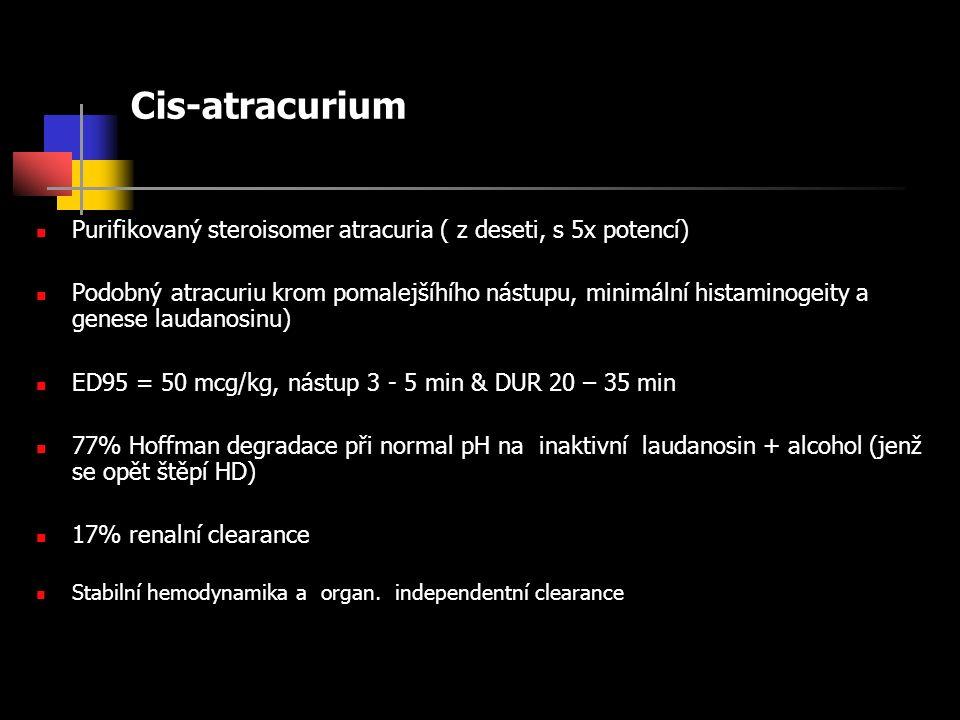 Cis-atracurium Purifikovaný steroisomer atracuria ( z deseti, s 5x potencí) Podobný atracuriu krom pomalejšíhího nástupu, minimální histaminogeity a genese laudanosinu) ED95 = 50 mcg/kg, nástup 3 - 5 min & DUR 20 – 35 min 77% Hoffman degradace při normal pH na inaktivní laudanosin + alcohol (jenž se opět štěpí HD) 17% renalní clearance Stabilní hemodynamika a organ.