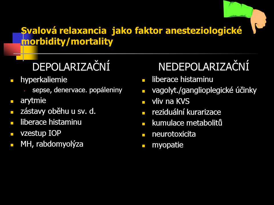 Svalová relaxancia jako faktor anesteziologické morbidity/mortality DEPOLARIZAČNÍ hyperkaliemie sepse, denervace.