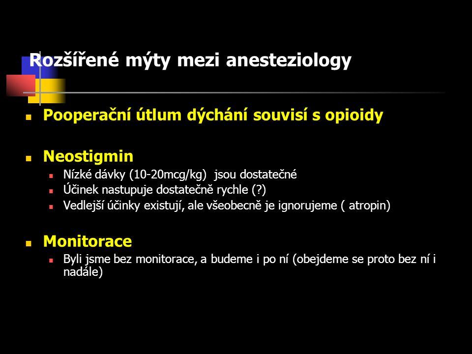 Rozšířené mýty mezi anesteziology Pooperační útlum dýchání souvisí s opioidy Neostigmin Nízké dávky (10-20mcg/kg) jsou dostatečné Účinek nastupuje dostatečně rychle ( ) Vedlejší účinky existují, ale všeobecně je ignorujeme ( atropin) Monitorace Byli jsme bez monitorace, a budeme i po ní (obejdeme se proto bez ní i nadále)