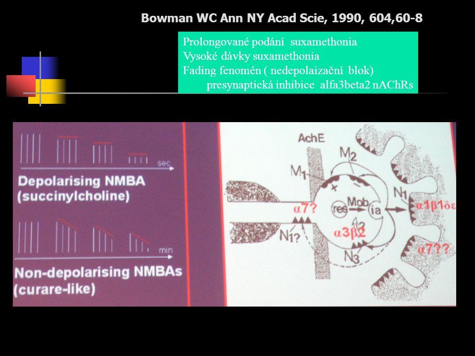 Bowman WC Ann NY Acad Scie, 1990, 604,60-8 Prolongované podání suxamethonia Vysoké dávky suxamethonia Fading fenomén ( nedepolaizační blok) presynaptická inhibice alfa3beta2 nAChRs