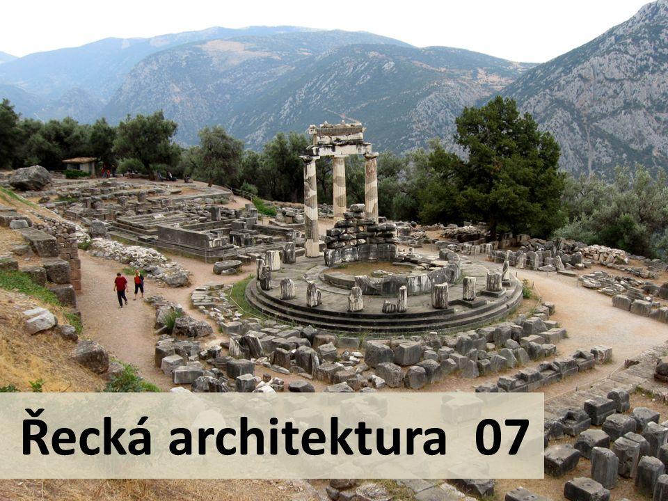 Kruhové stavby Athény Tholos na agoře - výstavba - kolem 465 př.