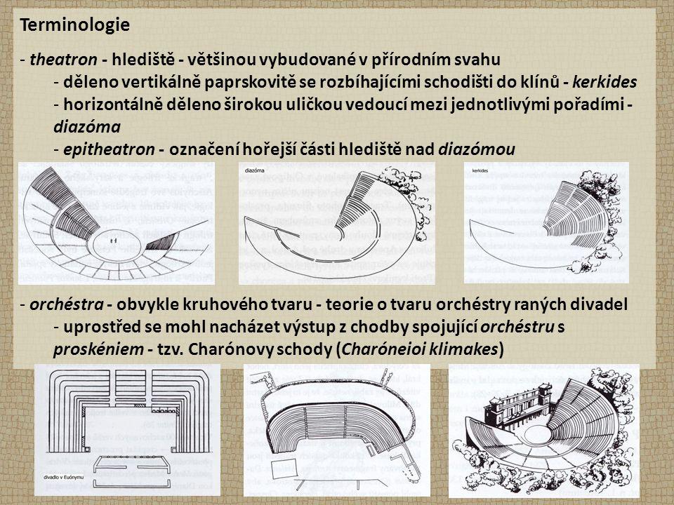 Terminologie - theatron - hlediště - většinou vybudované v přírodním svahu - děleno vertikálně paprskovitě se rozbíhajícími schodišti do klínů - kerki