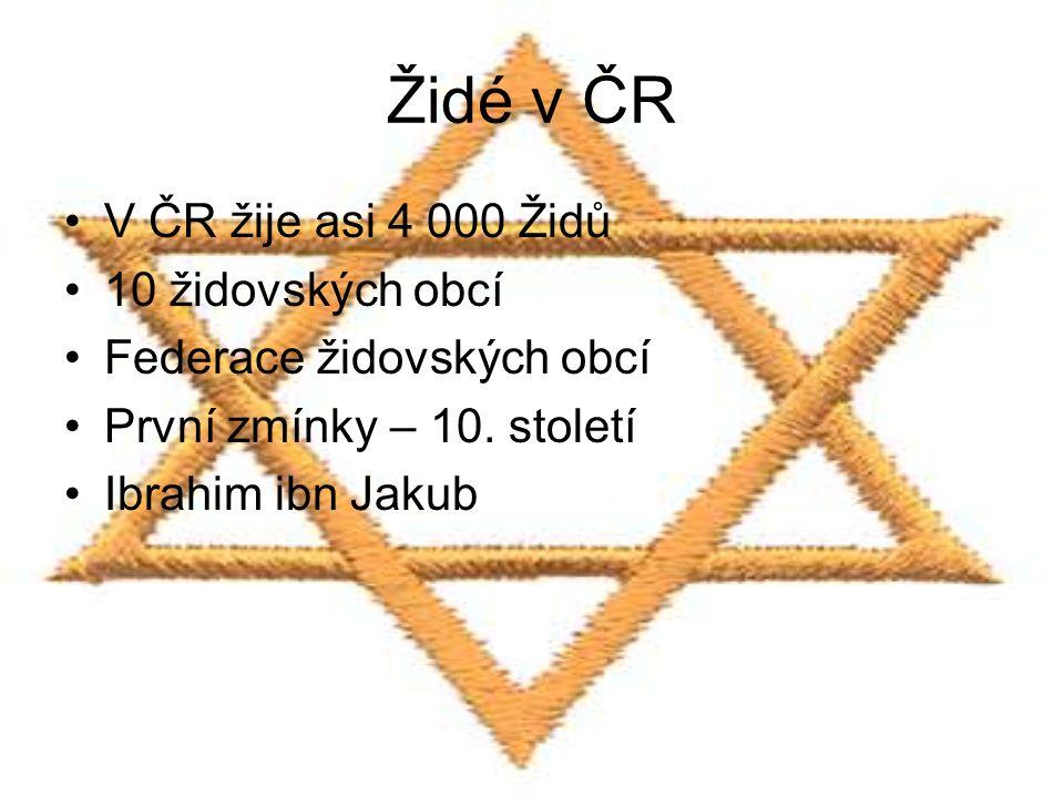 Židé v ČR V ČR žije asi 4 000 Židů 10 židovských obcí Federace židovských obcí První zmínky – 10. století Ibrahim ibn Jakub