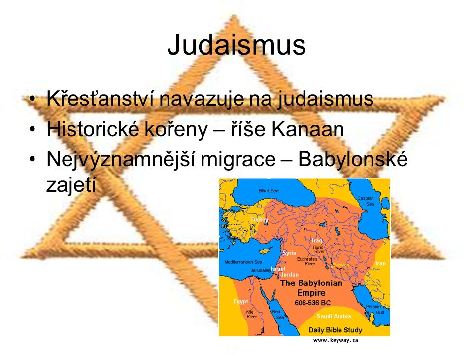 Judaismus Křesťanství navazuje na judaismus Historické kořeny – říše Kanaan Nejvýznamnější migrace – Babylonské zajetí