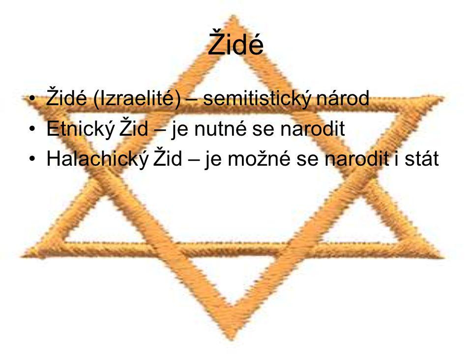 Židé Židé (Izraelité) – semitistický národ Etnický Žid – je nutné se narodit Halachický Žid – je možné se narodit i stát