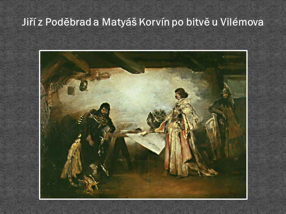 Jiří z Poděbrad a Matyáš Korvín po bitvě u Vilémova