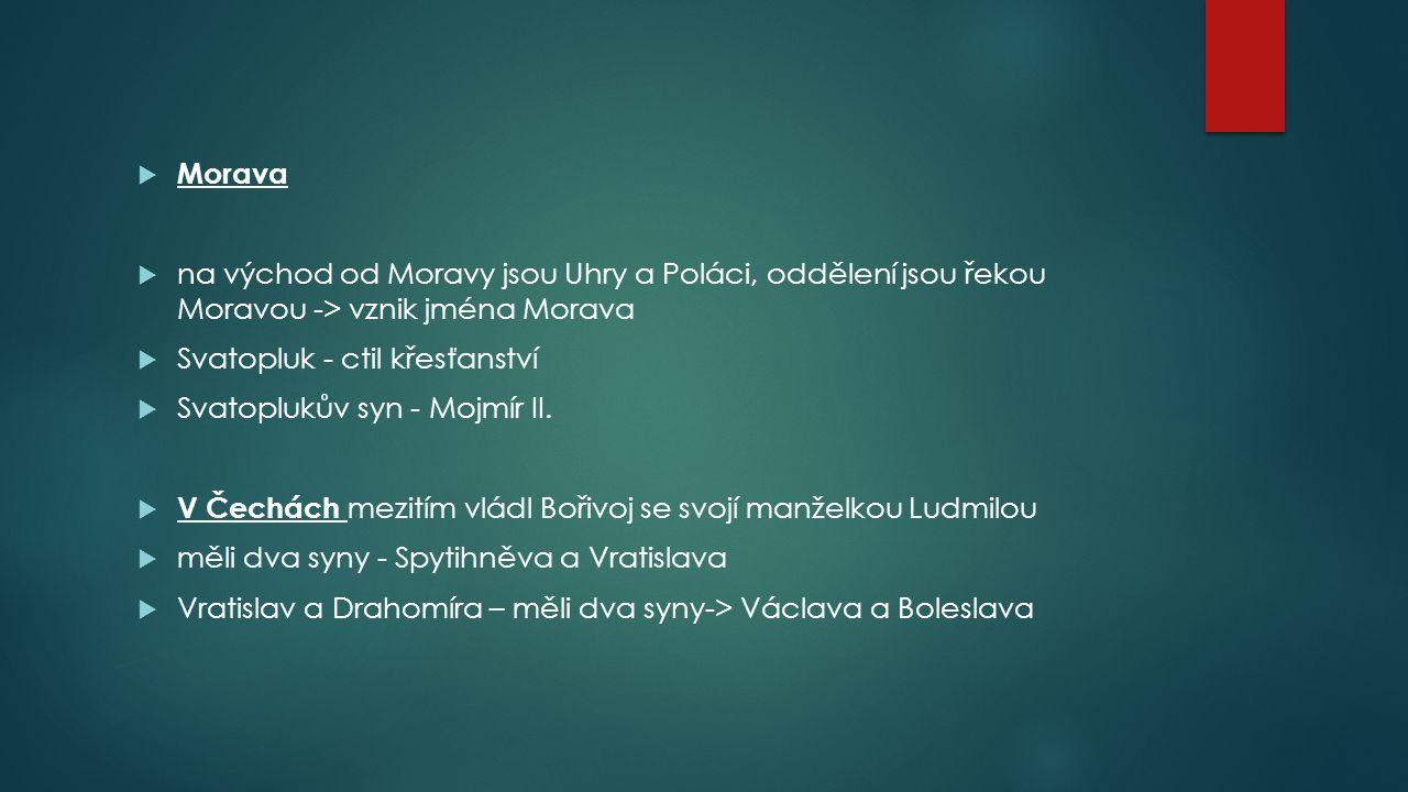  Morava  na východ od Moravy jsou Uhry a Poláci, oddělení jsou řekou Moravou -> vznik jména Morava  Svatopluk - ctil křesťanství  Svatoplukův syn - Mojmír II.