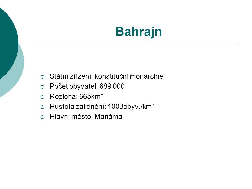 Bahrajn  Státní zřízení: konstituční monarchie  Počet obyvatel: 689 000  Rozloha: 665km²  Hustota zalidnění: 1003obyv./km²  Hlavní město: Manáma