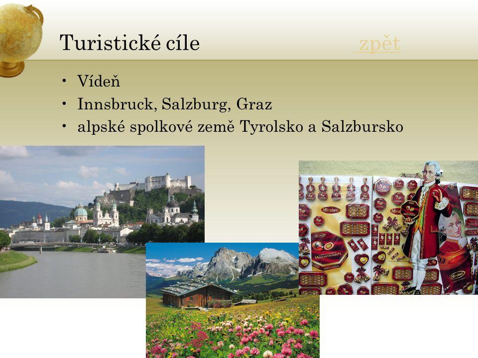 Turistické cíle zpět zpět Vídeň Innsbruck, Salzburg, Graz alpské spolkové země Tyrolsko a Salzbursko