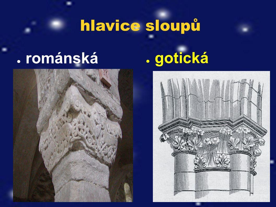 hlavice sloupů ● románská ● gotická