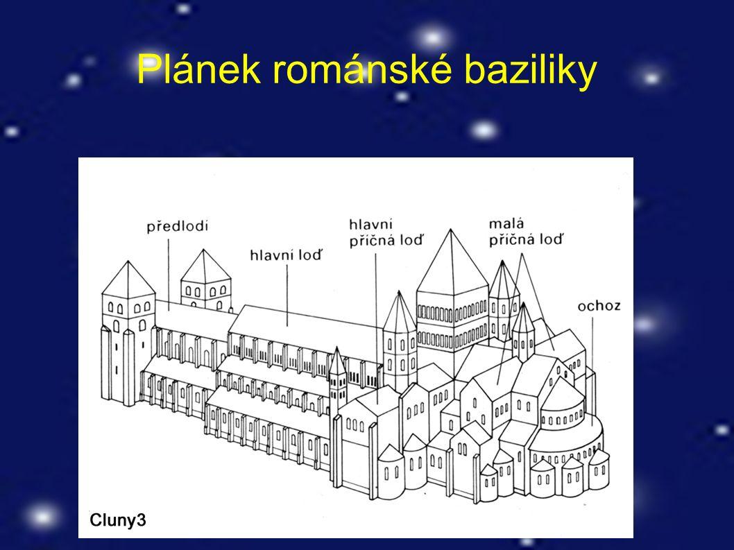 Plánek románské baziliky