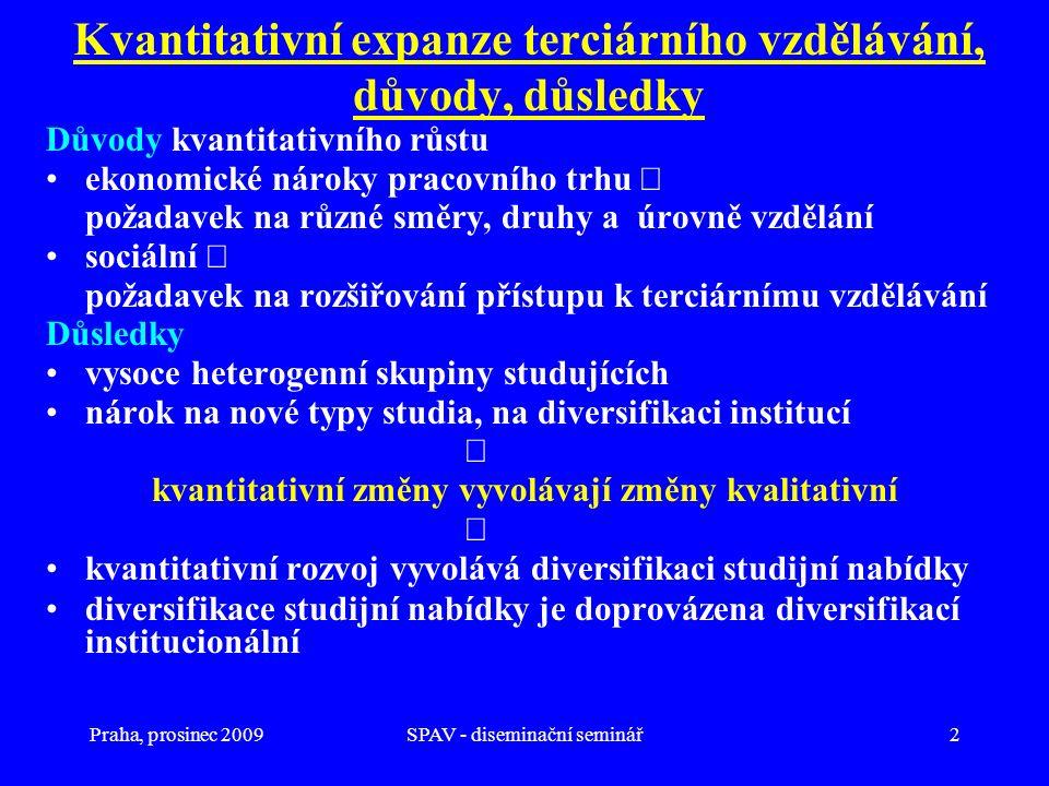 Praha, prosinec 2009SPAV - diseminační seminář2 Kvantitativní expanze terciárního vzdělávání, důvody, důsledky Důvody kvantitativního růstu ekonomické