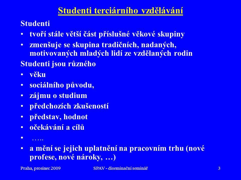 Praha, prosinec 2009SPAV - diseminační seminář3 Studenti terciárního vzdělávání Studenti tvoří stále větší část příslušné věkové skupiny zmenšuje se s