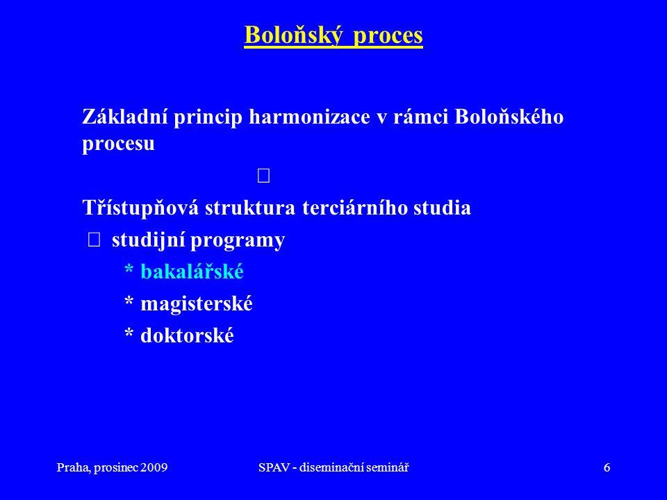 Praha, prosinec 2009SPAV - diseminační seminář6 Boloňský proces Základní princip harmonizace v rámci Boloňského procesu  Třístupňová struktura terciá