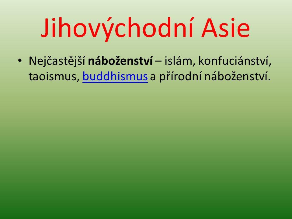 Jihovýchodní Asie Nejčastější náboženství – islám, konfuciánství, taoismus, buddhismus a přírodní náboženství.buddhismus
