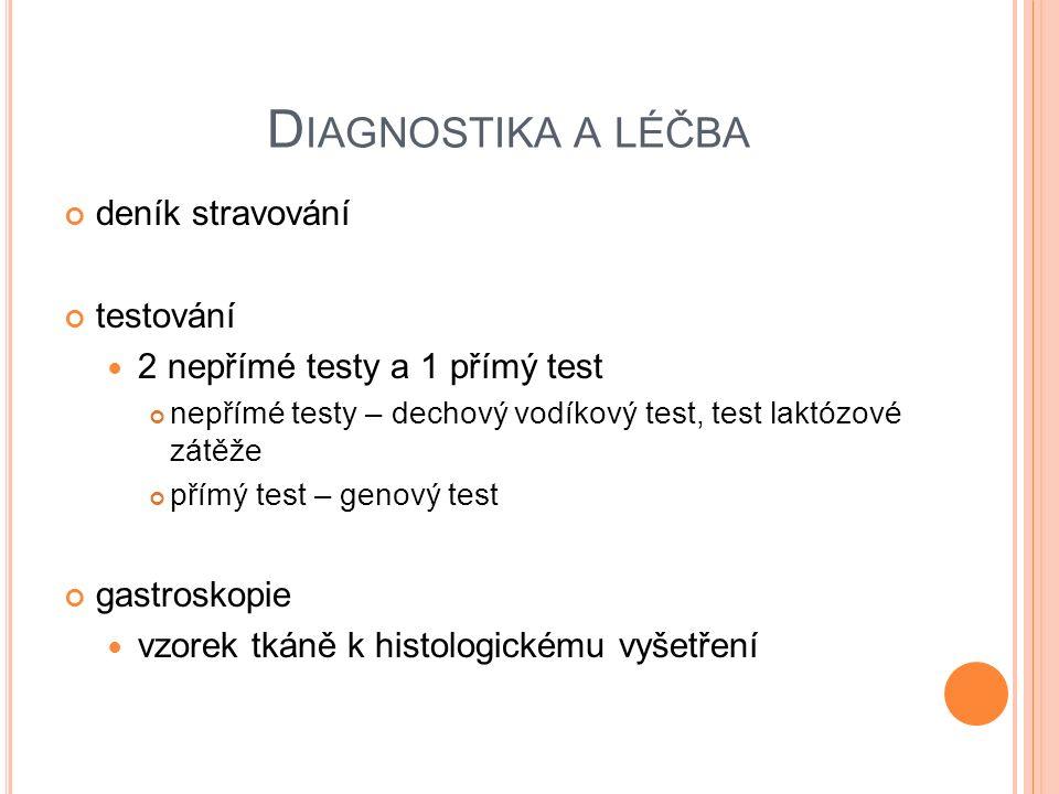 D IAGNOSTIKA A LÉČBA deník stravování testování 2 nepřímé testy a 1 přímý test nepřímé testy – dechový vodíkový test, test laktózové zátěže přímý test – genový test gastroskopie vzorek tkáně k histologickému vyšetření