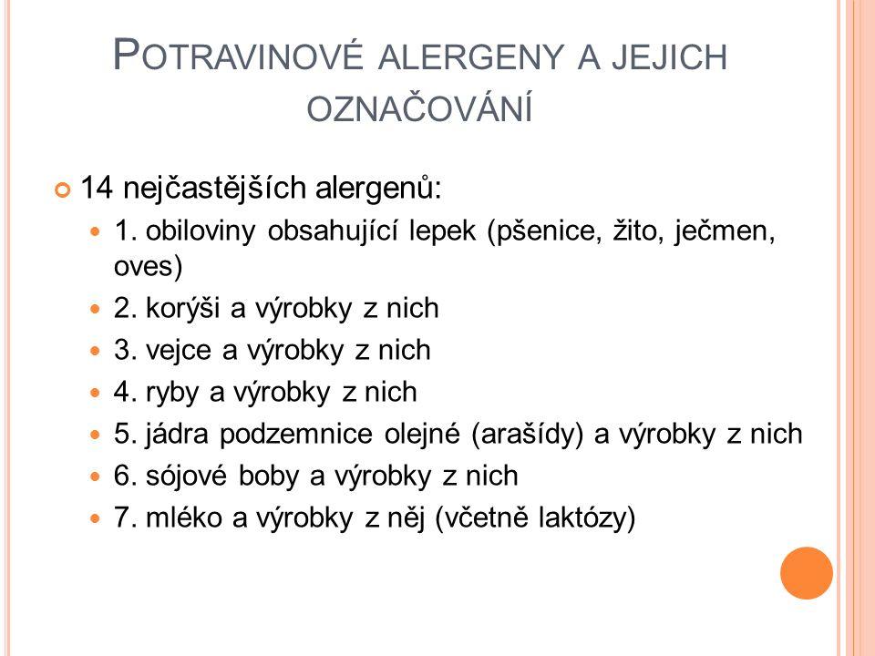 P OTRAVINOVÉ ALERGENY A JEJICH OZNAČOVÁNÍ 14 nejčastějších alergenů: 1.