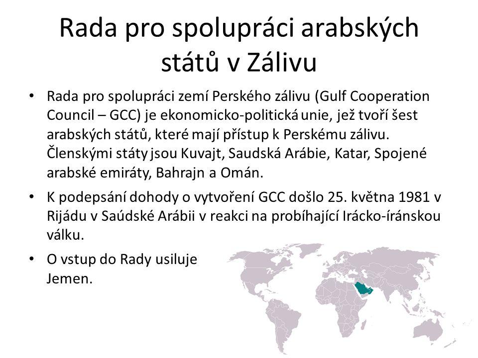 Rada pro spolupráci arabských států v Zálivu Rada pro spolupráci zemí Perského zálivu (Gulf Cooperation Council – GCC) je ekonomicko-politická unie, jež tvoří šest arabských států, které mají přístup k Perskému zálivu.