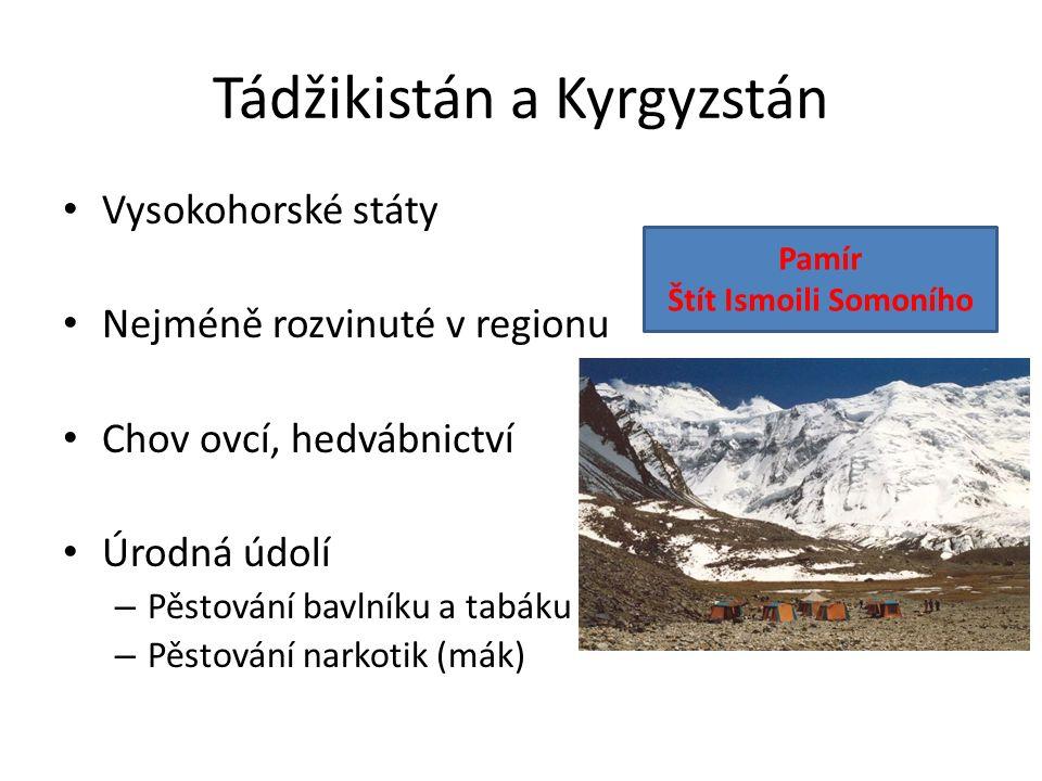 Tádžikistán a Kyrgyzstán Vysokohorské státy Nejméně rozvinuté v regionu Chov ovcí, hedvábnictví Úrodná údolí – Pěstování bavlníku a tabáku – Pěstování narkotik (mák) Pamír Štít Ismoili Somoního