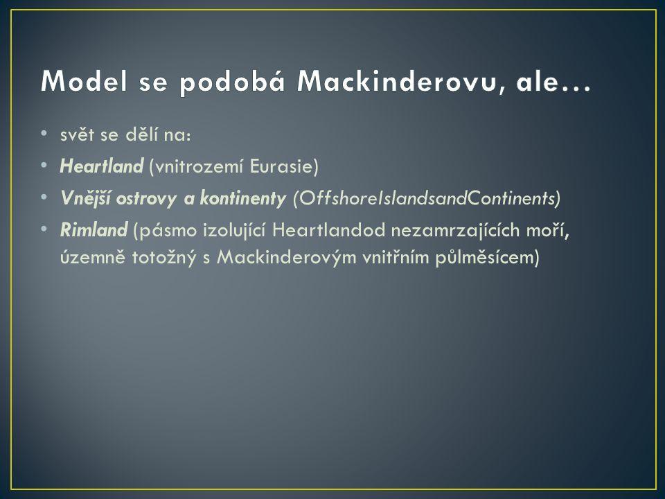 svět se dělí na: Heartland (vnitrozemí Eurasie) Vnější ostrovy a kontinenty (OffshoreIslandsandContinents) Rimland (pásmo izolující Heartlandod nezamrzajících moří, územně totožný s Mackinderovým vnitřním půlměsícem)