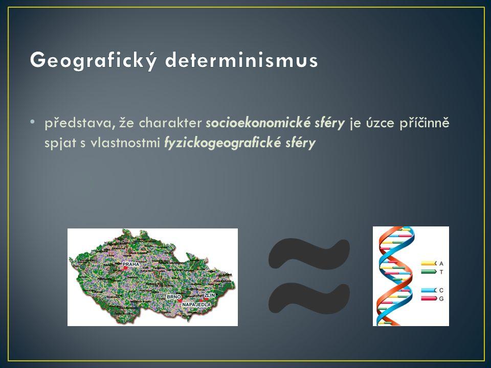 představa, že charakter socioekonomické sféry je úzce příčinně spjat s vlastnostmi fyzickogeografické sféry