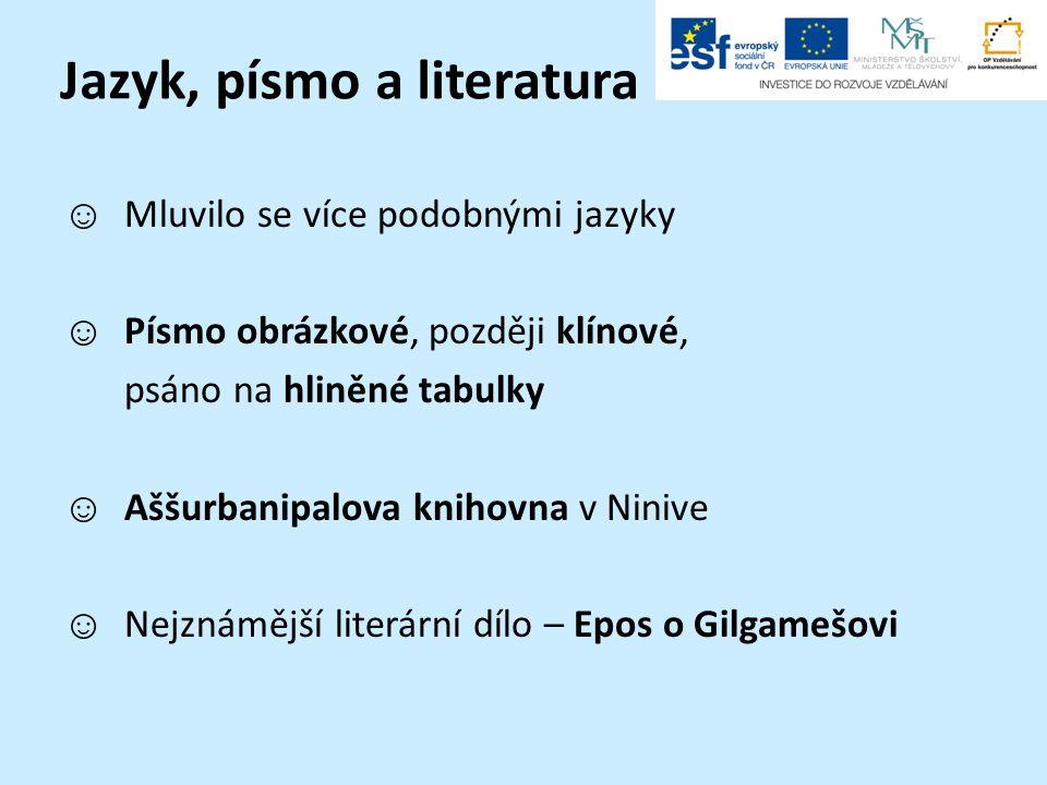 Jazyk, písmo a literatura ☺ Mluvilo se více podobnými jazyky ☺ Písmo obrázkové, později klínové, psáno na hliněné tabulky ☺ Aššurbanipalova knihovna v