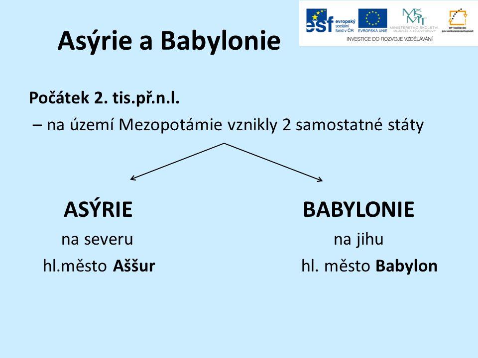 Asýrie a Babylonie Počátek 2. tis.př.n.l. – na území Mezopotámie vznikly 2 samostatné státy ASÝRIEBABYLONIE na severuna jihu hl.město Aššurhl. město B