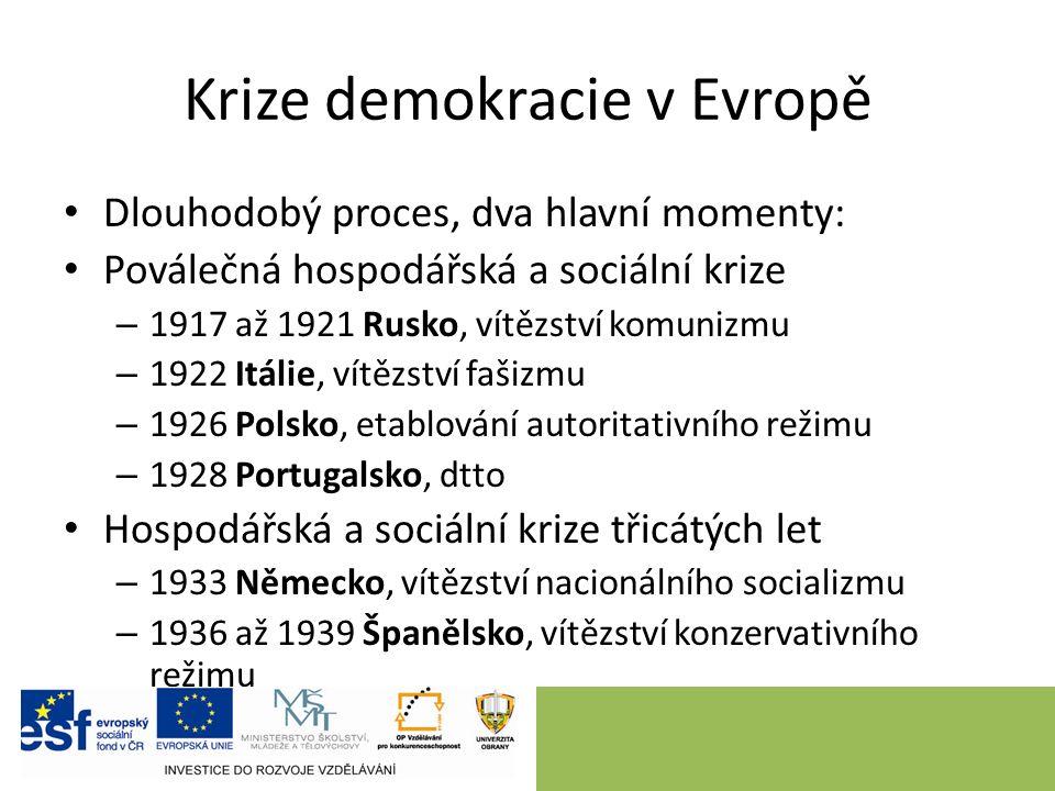 Krize demokracie v Evropě Dlouhodobý proces, dva hlavní momenty: Poválečná hospodářská a sociální krize – 1917 až 1921 Rusko, vítězství komunizmu – 19