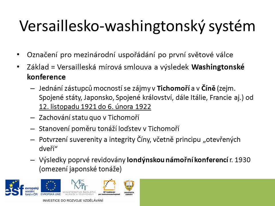 Versaillesko-washingtonský systém Označení pro mezinárodní uspořádání po první světové válce Základ = Versailleská mírová smlouva a výsledek Washingto